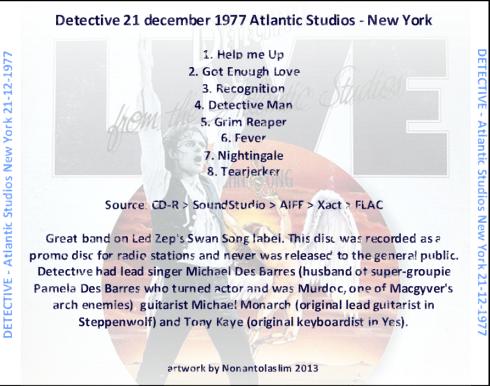 DETECTIVE live from atlantic studios  Cover Retro Master