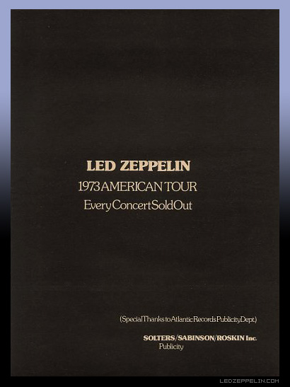 LED ZEP 1973 TOUR SOLD OUT
