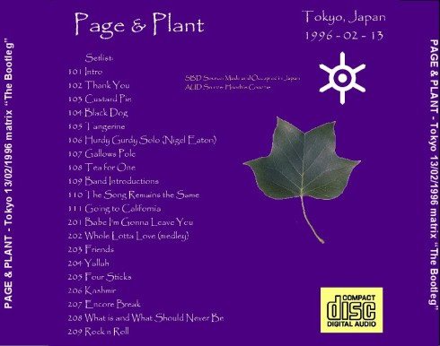 Page and Plant - Tokyo 13 feb 201 matrix  back cover