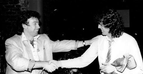 1985 Paul Rodgers and Jimmy Page at release party foe Willie and the Poor Boys © Photofeatures
