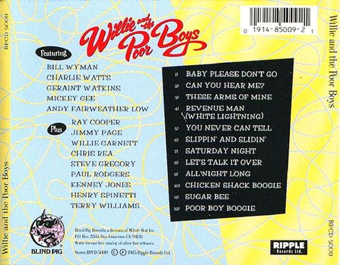 Willie And The Poor Boys - Willie And The Poor Boys - Back