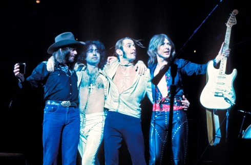 BAD CO 1976 - da sx a dx: Boz Burrell, Paul Rodgers-Simon Kirke e MICK RALPHS