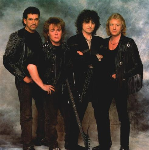 OUTRIDER Jimmy Page band 1988: left to right Durban Laverde, Jason Bonham, Jimmy Page, John Miles the great