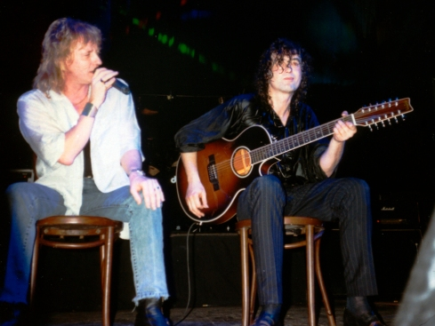 Outrider tour 1988: John Miles & Jimmy Page on stage