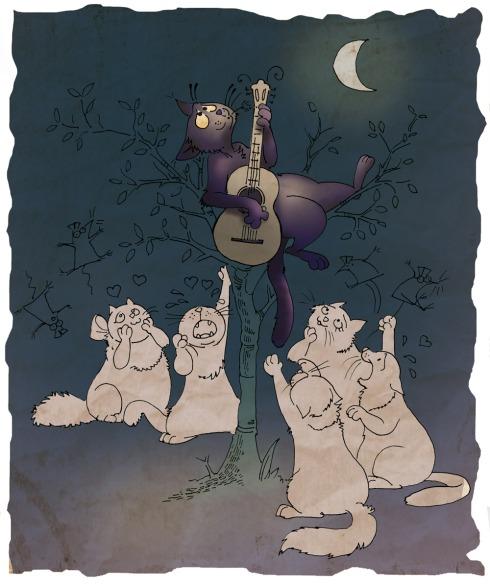 Il gatto Palmiro e le sue groupies - disegno di Marta Gerardi 2014