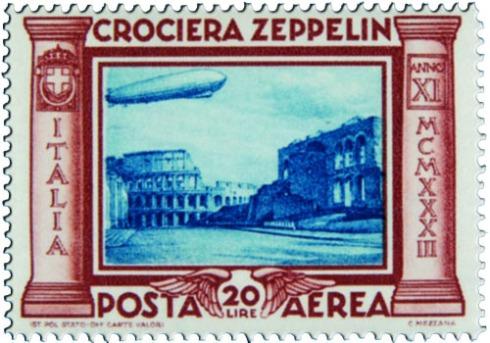 Crociera Zeppelin francobollo 20 lire
