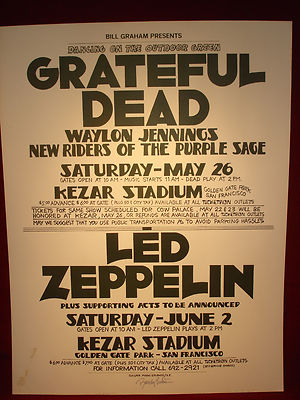 Kezar Stadium Poster 1973 grateful dead led zeppelin