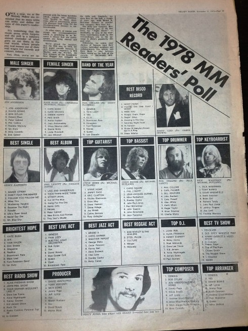 Melody Maker 11 november 1978 readers poll