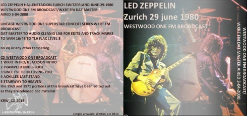 Led Zeppelin Zurich 1980 FM broadcast artwork