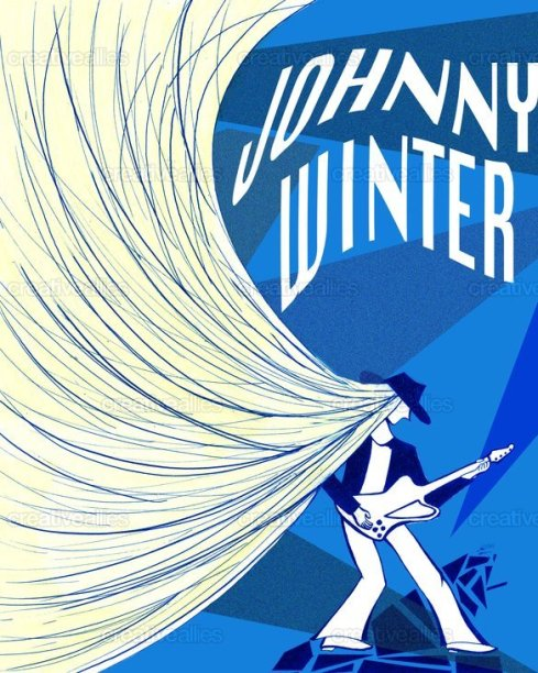 Johnny Winter Poster by Katerine Lam