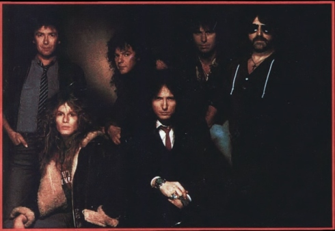 whitesnake 1984: left-right: Mel Galley-John Sykes-Neil Murray-David Coverdale-Cozy Powell-Jon Lord