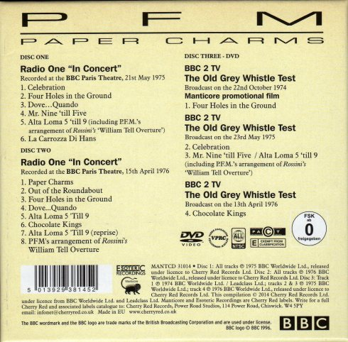 PFM Paper Charms the complete  BBC session 1974-76