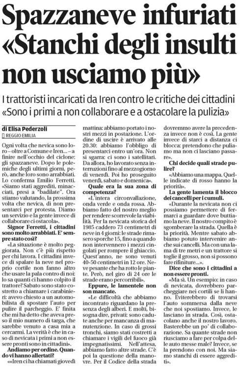 Articolo Gazzetta di Reggio 10-02-2015