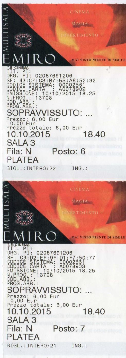 Biglietto THE MARTIAN