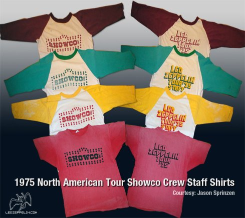 Led Zeppelin 1975 North American Tour Showco Crew Staff Shirts