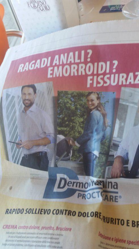 Pagina pubblicitaria del Corriere dell'Adriatico - foto TT