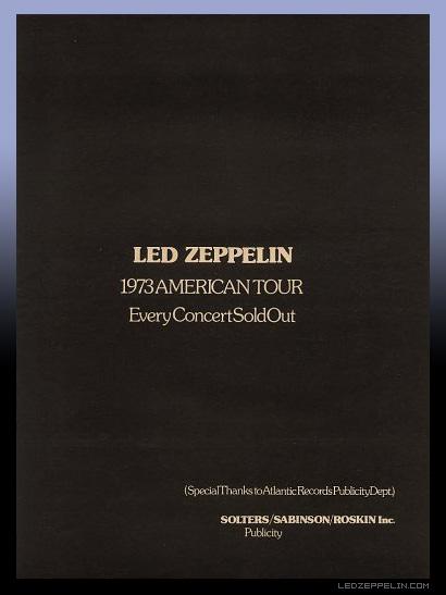 LZ 1973 US tour_soldout