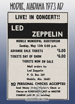BOOTLEGS: Led Zeppelin, Mobile, Municipal Auditorium 13 May