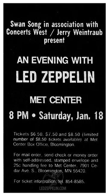 Led Zeppelin - Metropolitan Sports Center, Bloomington, MN, 18 january 1975